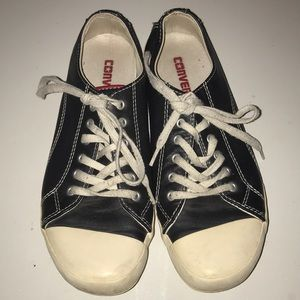 Converse black leather all stars women's 6.5 perft